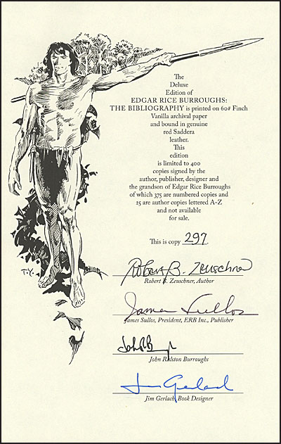 EDGAR RICE BURROUGHS The Bibliography Deluxe Signed