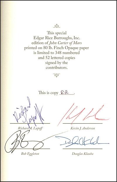 JOHN CARTER OF MARS Slipcased Klauba Cover Signed
